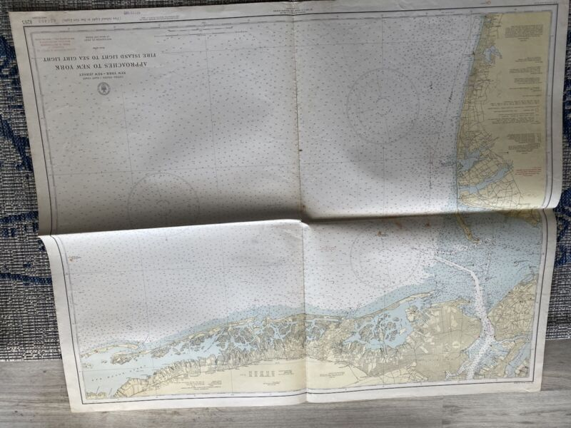 Original Nautical Chart Map Approaches to New York 1215 Issued 1940