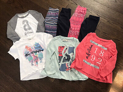 8- Abercrombie Kids Girls Shirts Tees Pants Leggings Lot Outfits Sz 3/4 READ