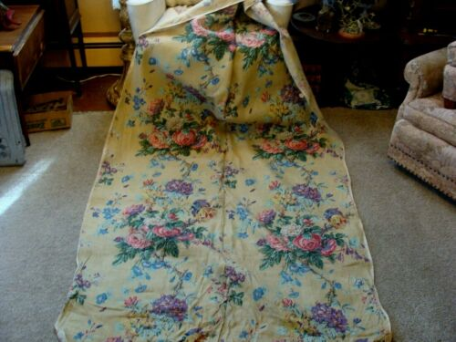 10Yd Antique 1920 HandBlocked Linen Fabric French Style Roses Drapes Upholstery