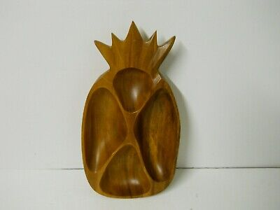 Carved Bowl Wooden Bowl Vintage 1975 Hawaiian Wooden Pineapple Shaped Dish