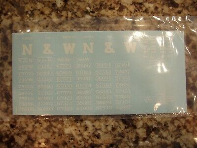 Norfolk & Western class H-9 and H L 2-bay hopper car decals, in white, S-scale