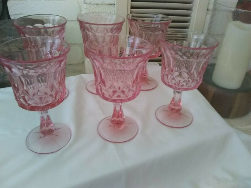 Vintage Thumb Print Pink Glass Goblets set of 6