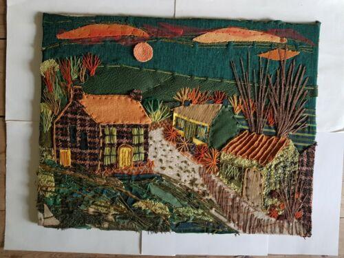 Fabulous+vintage+textile+art+mid+century+collage+layers+panel+cottages+landscape