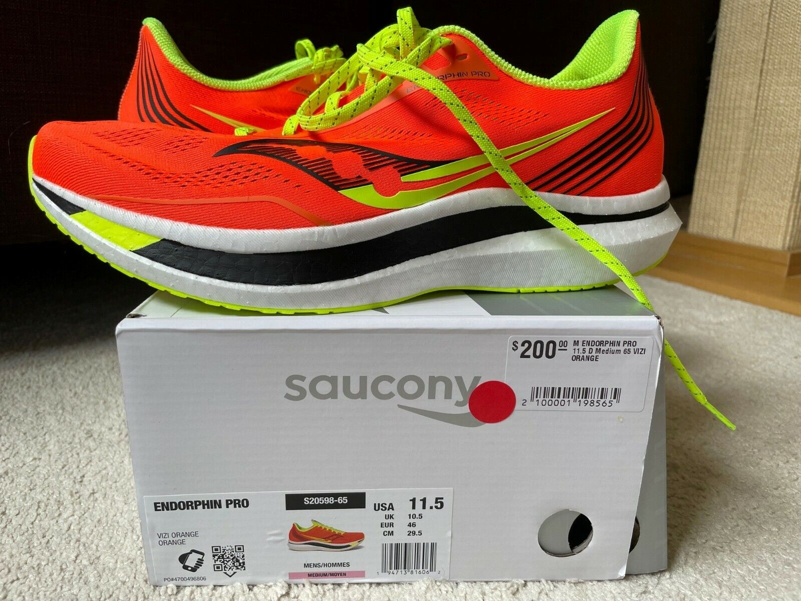 Saucony Endorphin Pro Men's Running, Size 11.5 (EUR 46) New in Box, Viz Orange