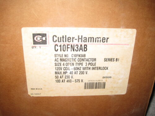 Eaton Cutler Hammer C10FN3AB Size 4 Starter Magnetic Contactor