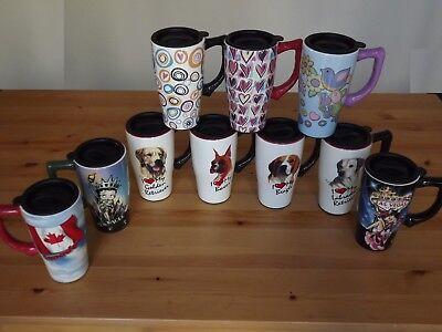 High Quality Ceramic 14 Oz. Travel Coffee Tea Mug Tumbler Dogs Love Betty Boop