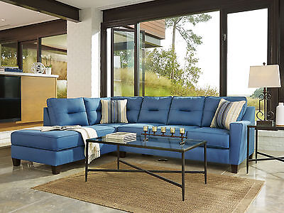 NEW Modern Living Room Couch Set - Blue Fabric Sectional Sofa Sleeper Chaise G10