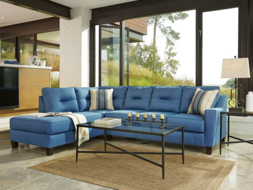 Living Family Room Furniture Set Sectional Blue Fabric Sofa Sleeper Chaise Ig10