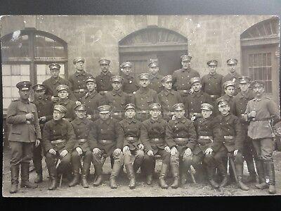 German? Soldiers, Group Photograph c1916 badeanstalt sign above door RP Postcard