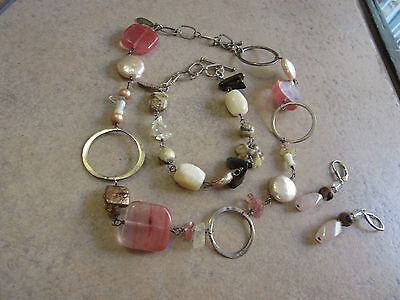 Sterling Silver Handpicked Necklace Bracelet Earring Set Pearls Stones