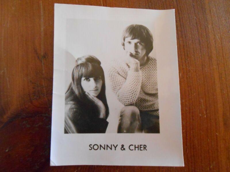 """Vintage  Sonny & Cher 2.75"""" x 3.5"""" Black & White Glossy Photo"""