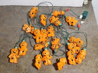 VTG Set-20 Pumpkin Man Scarecrow Halloween Blow Mold 2 Light Strings