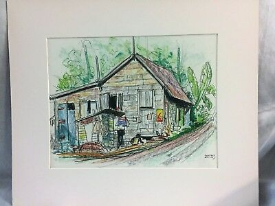 Vintage Condie Lamb Pastel Chalk Drawing Sketch St Lucia Castries Village House