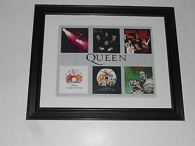 "Framed Queen Album Art 1973-1977 Night Opera, News, Day Races, Sheer 14"" x 17"""