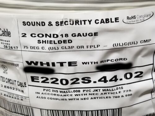 Carol E2202S 18/2C Shielded Control/Communications Cable Plenum White /100ft