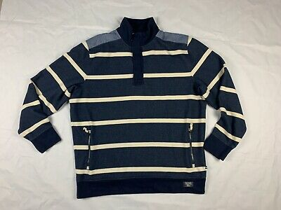 Nautica Jeans Mens Half Zip  Sweater Pull Over Navy Blue Striped Sz XXL