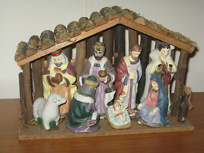 NATIVITY SET Wood Stable w/ 9 Porcelain Christmas Figures