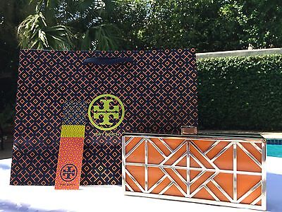 TORY BURCH FRET MINAUDIERE CLUTCH ORANGE/GOLD NWT-DUSTCOVER & GIFT BAG -SOLD OUT