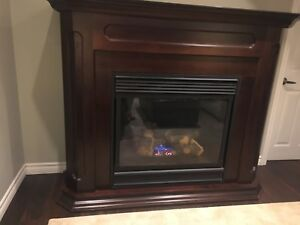 Natural Gas Fireplace Insert with Wood Mantel