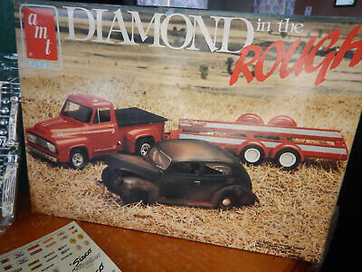 Amt Model Kit Diamond in the Rough 1953 Ford Pickup 1940 Ford Car Trailer