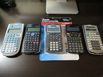 LOT OF 5 Working Handheld Solar Calculators Texas Instruments - Casio - Sharp
