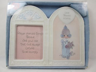 "Small Porcelain Picture Frame Precious Moments ""Love Blooms Eternal"" Enesco 1999"