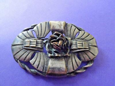 Très ancienne broche en métal et cuivre, art deco