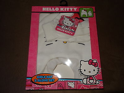 Hello Kitty Girls Hat   Glove Set One Size Fits Most Free Shipping New In Pkg