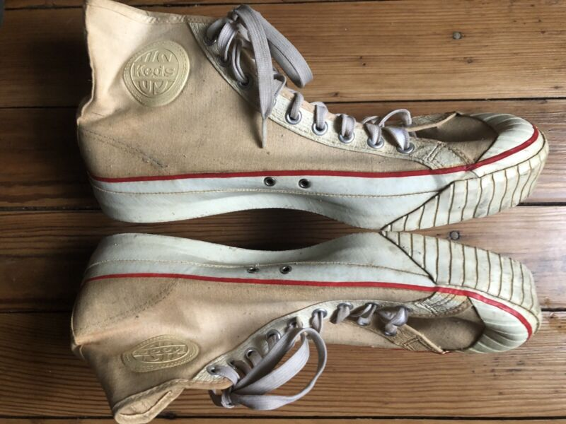 vtg 1950s US KEDS HI-TOP CANVAS WHITE SNEAKERS shoes MENS 10.5 made in USA