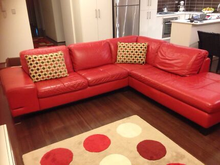 MUST GO- Italian leather lounge and ottoman - Made in italy Denistone Ryde Area Preview