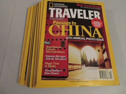 Lot of 8 National Geographic's Traveler Magazines Jan-Dec 2007 VG