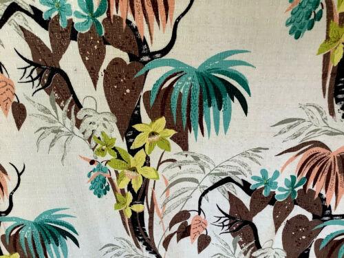 Vintage abstract mid century mod barkcloth cotton fabric tropical South Beach!