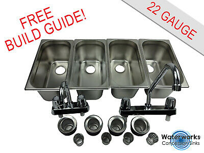4 Compartment Concession Sink Portable Food Truck Trailer Hand Washing Wfaucets