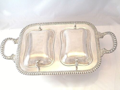 VINTAGE DOUBLE SERVING ENTREE DISH FOOTED SERVER 2 COVERS HANDLES