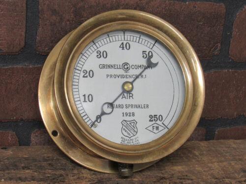 "Vintage 1928 ASHCROFT Brass Industrial Air Pressure Gauge 5"" US Gauge Grinnell"
