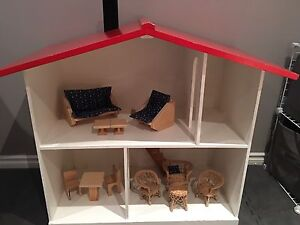 Large Wooden Doll House With Furniture