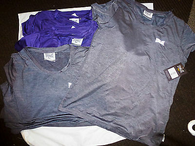 JOBLOT 12 EVERLAST T.SHIRTS GREY/PURPLE SIZE S & M NEW GOOD QUALITY