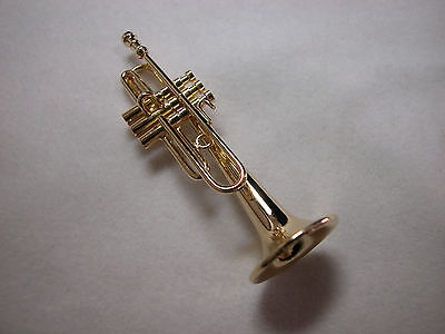 1//12th Non-Working Miniature Brass Color Trumpet wi Case Vemars #MM302S