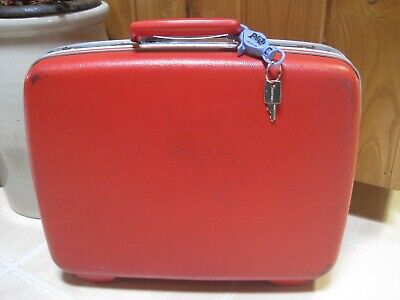 """Vintage Samsonite Small RED Hard SUITCASE with Key 15"""" x 12"""""""