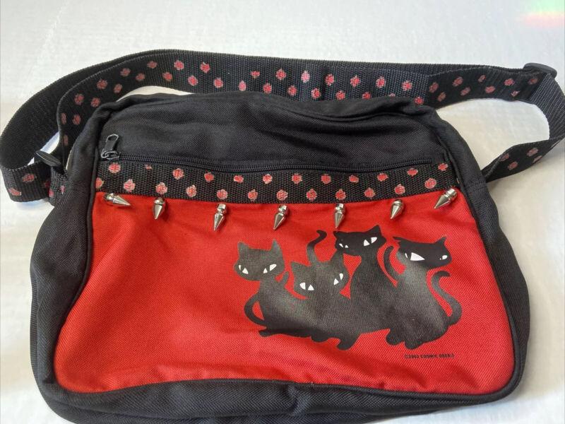 Emily The Strange Black Cats Metal Spikes Paw Prints Side Bag Messenger Bag