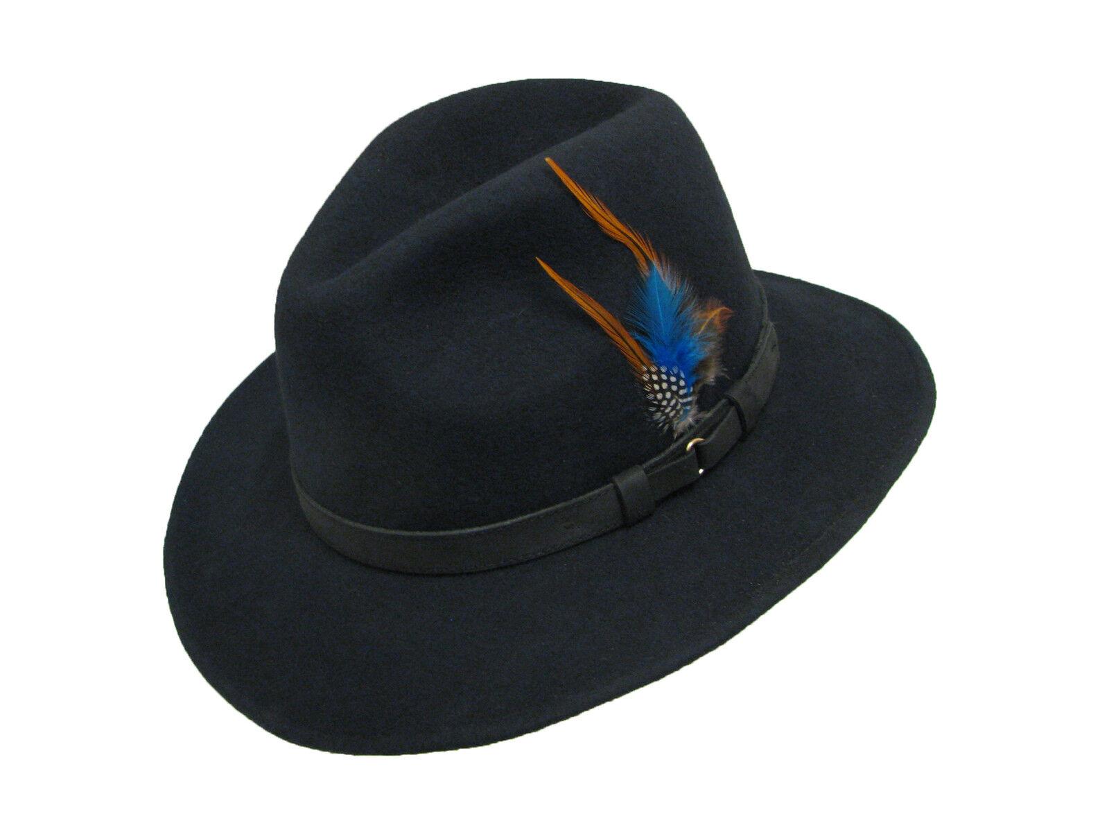 Foldable Wide Brim Felt Bowler Fedora Hat Style: Casual