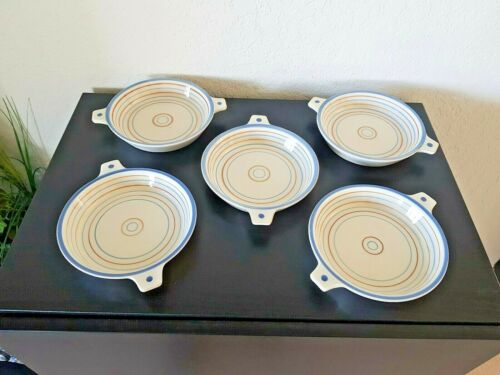 Vintage Mid Century Modern KNABSTRUP Denmark DANISH Pottery DISH SET of 5 GREAT