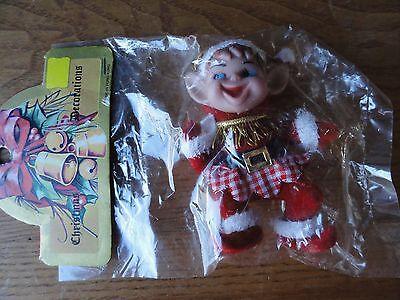 """Vintage Santa Elf Ornament Red Flocked Plastic 3.5"""" Hong Kong NOS"""