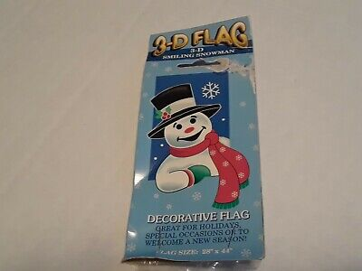 NIP 3D Smiling Snowman 28 x 44 Decorative Flag Great for Holidays !