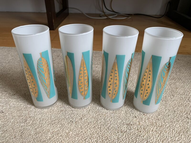 Vintage MCM Fred Press Set of 4 tall glasses. Frosted Gold Turquoise.