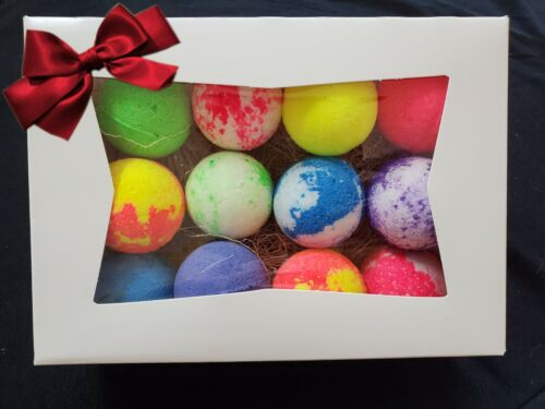 BATH BOMBS FIZZY LOT Of 12  ASSORTED - GIFT BOX INCLUDED! #33