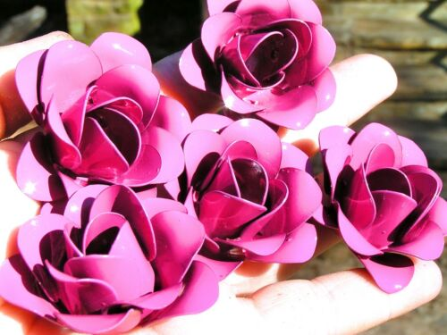 FIVE Pink metal roses, flowers for crafts, jewelry, embellishments and accents