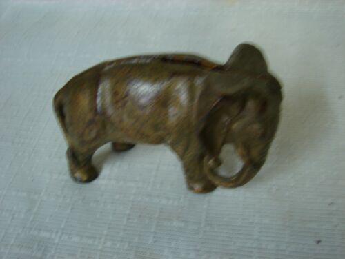 Antique Cast Iron Circus Elephant Penny Piggy Bank - SEE PHOTOS