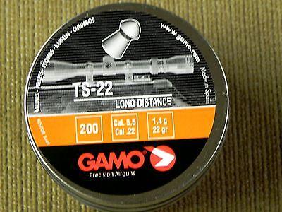 GAMO PRECISION TS-22 .22 CALIBER PELLETS 200 Count 22 grains ROUND NOSE DISTANCE (Grain Round Nose Pellet)