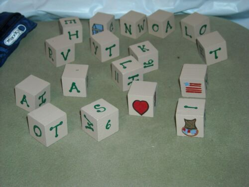 """wooden blocks with painted apples & things plus numbers baby doll photo props 1"""""""